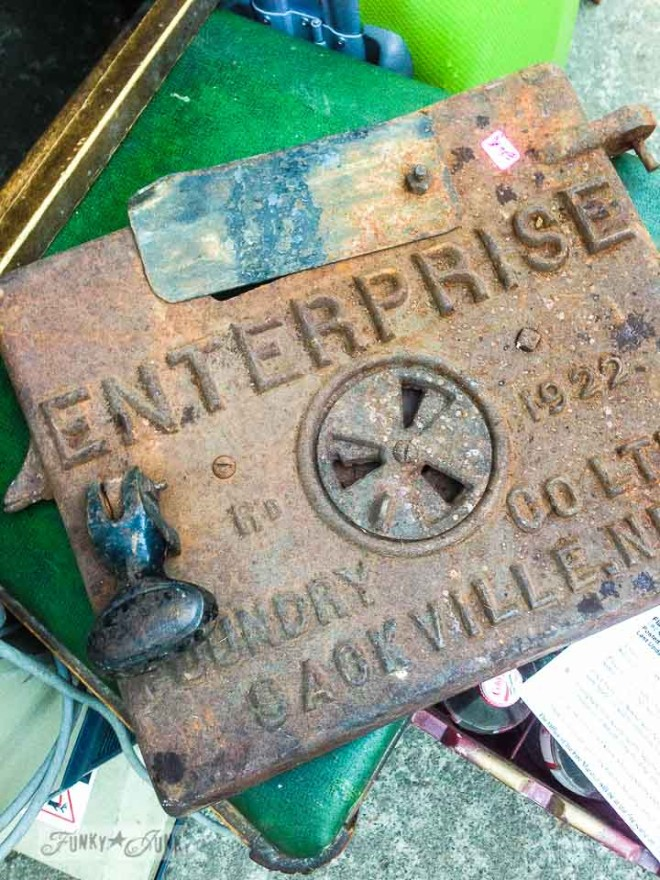 Wood stove cast iron door /  What would you do with these salvaged finds? via https://www.funkyjunkinteriors.net/