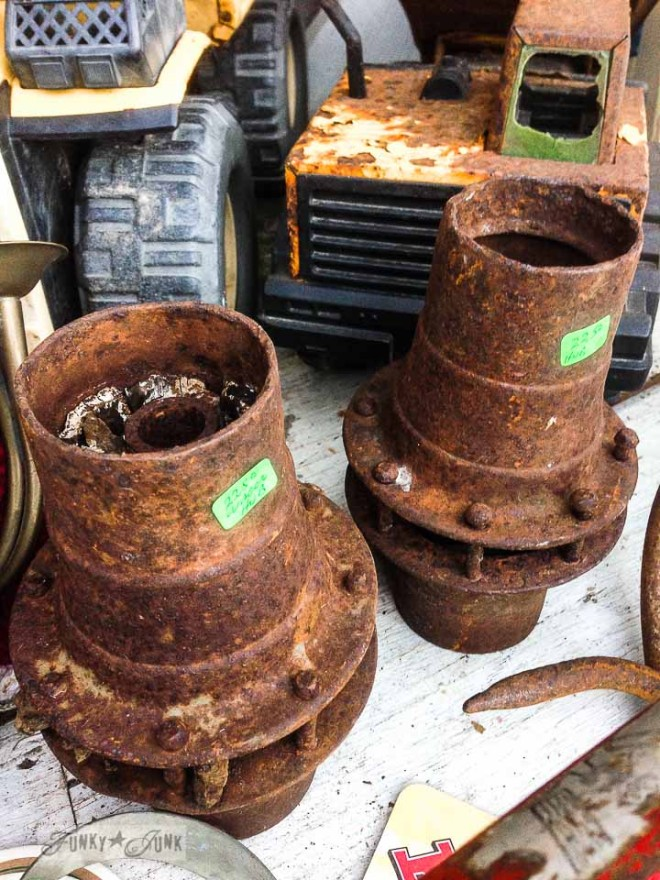 Rusty wheel hubs /  What would you do with these salvaged finds? via https://www.funkyjunkinteriors.net/