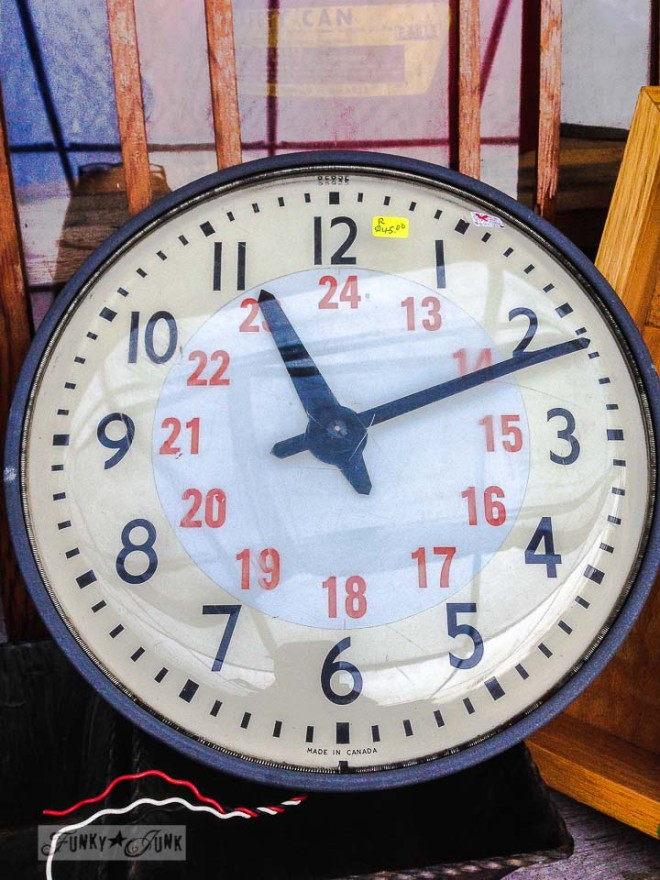 Vintage cream and black clock /  What would you do with these salvaged finds? via https://www.funkyjunkinteriors.net/