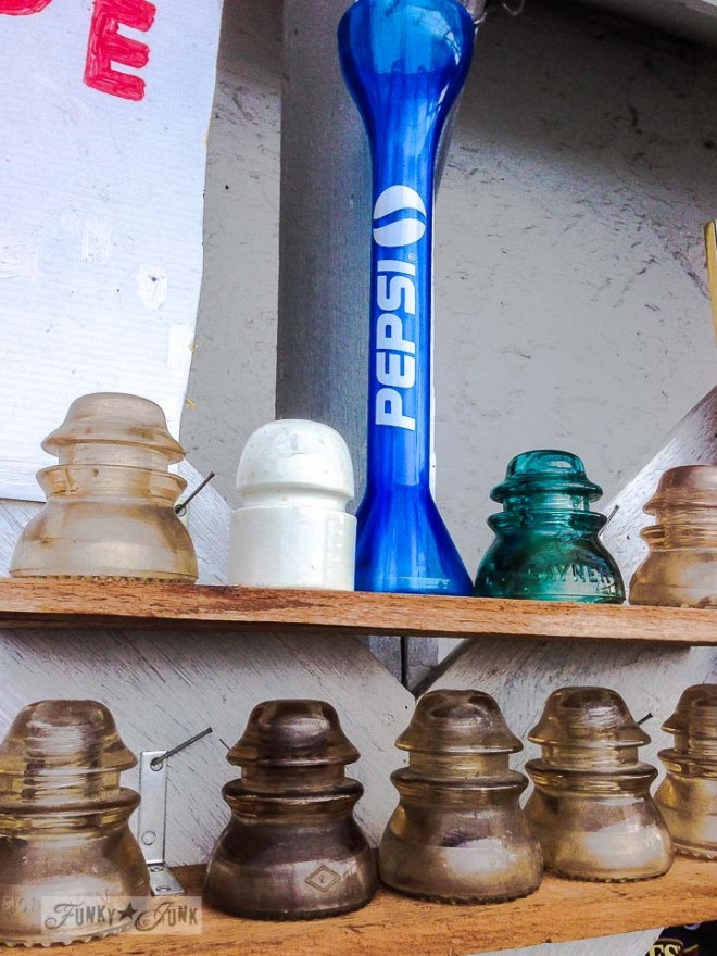 Antique insulators /  What would you do with these salvaged finds? via https://www.funkyjunkinteriors.net/