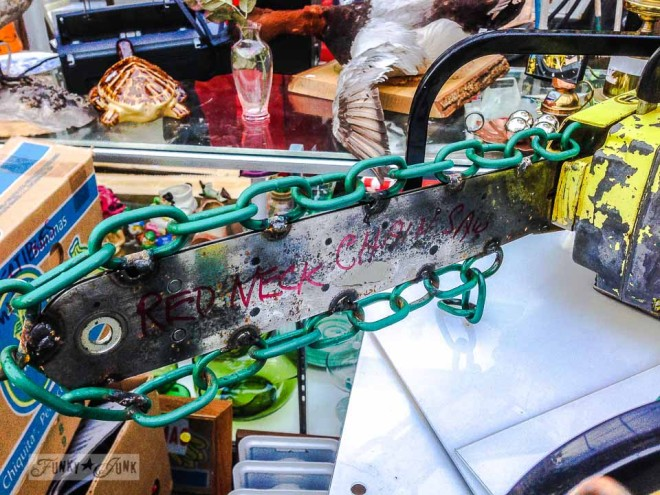 Redneck Chainsaw /  What would you do with these salvaged finds? via https://www.funkyjunkinteriors.net/