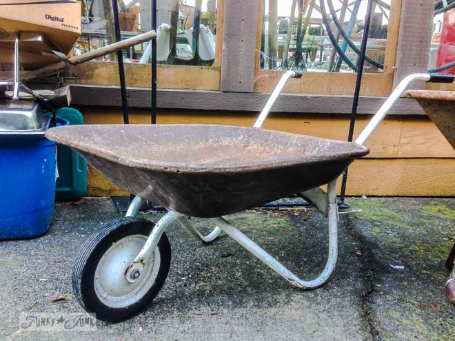 rust and white wheelbarrow / What would you do with these salvaged finds? via https://www.funkyjunkinteriors.net/