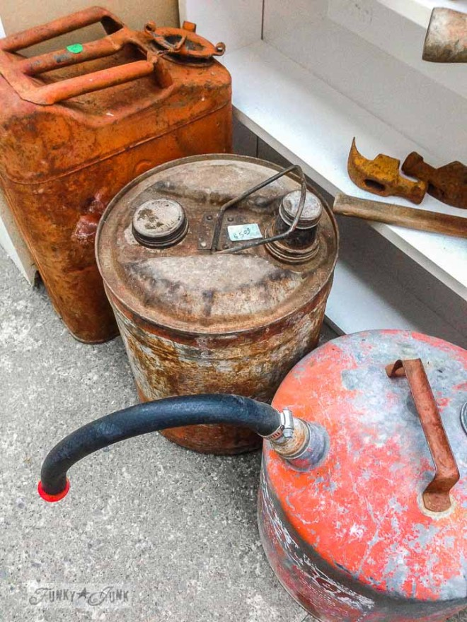 Red and rusty gas tanks /  What would you do with these salvaged finds? via https://www.funkyjunkinteriors.net/