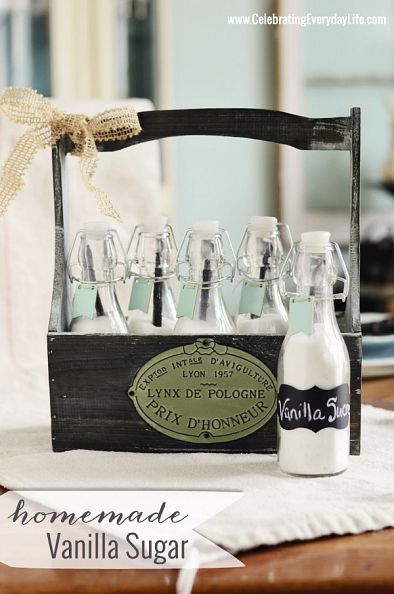 Homemade Vanilla Sugar Bottles in a Crate by Celebrating Everyday Life