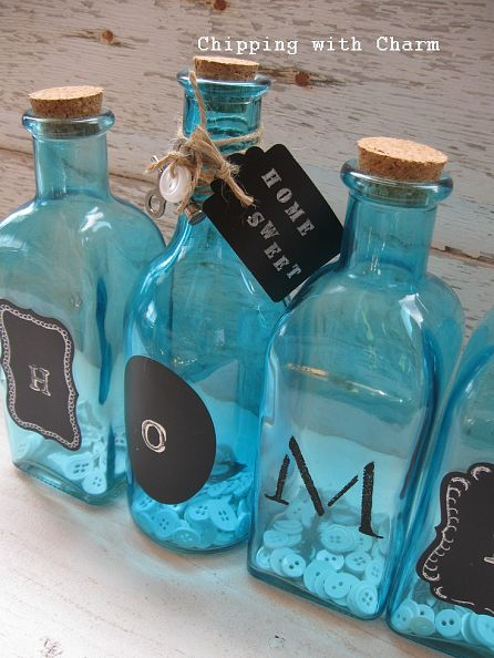 Home Sweet Home Message on aqua bottles by Chipping with Charm