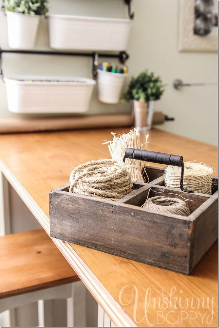 Organized jute and twine storage in a tote by Unskinny Boppy