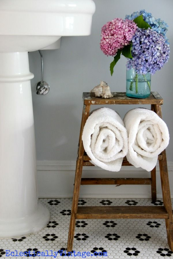 Ladder towel holder by Eclectically Vintage