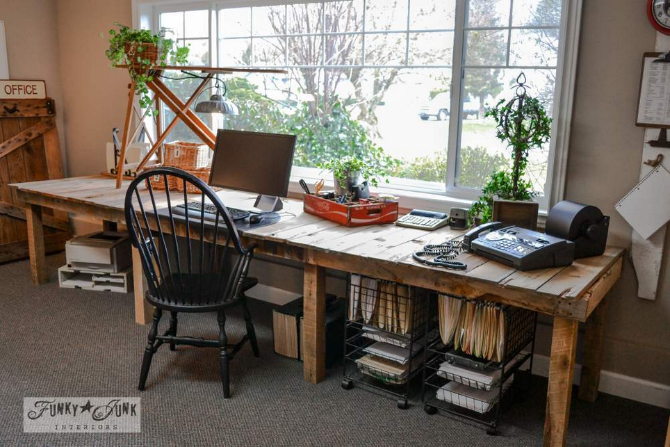 Pallet wood farm table styled office desk via FunkyJunkInteriors.net