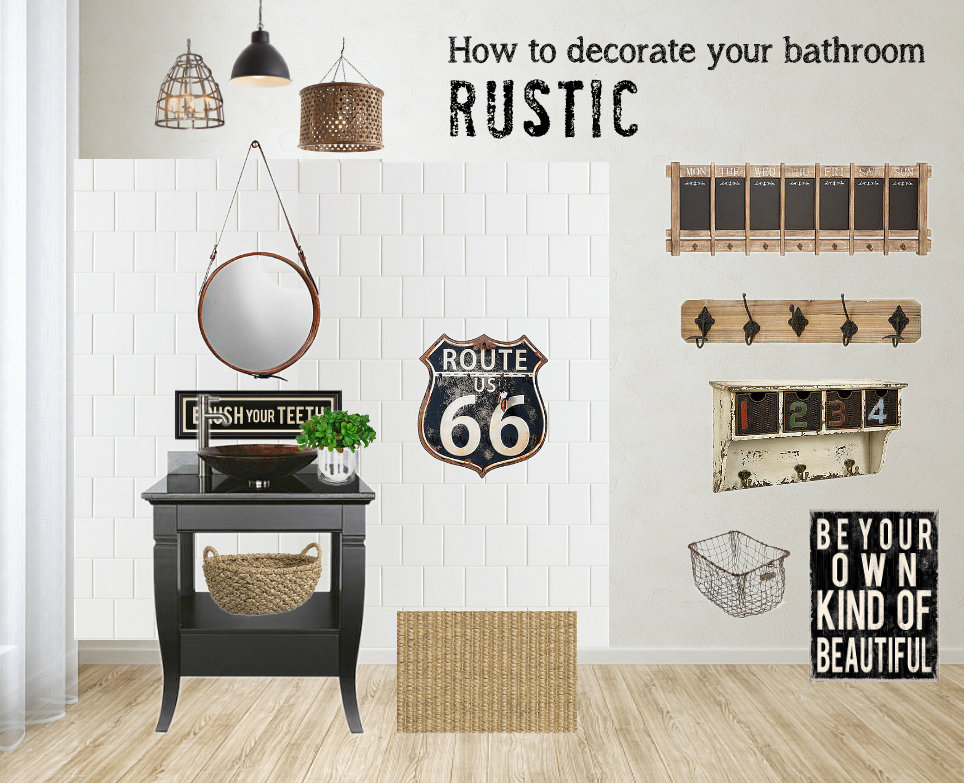 How to decorate a bathroom rustic / decorating advice with plenty of visuals via FunkyJunkInteriors.net