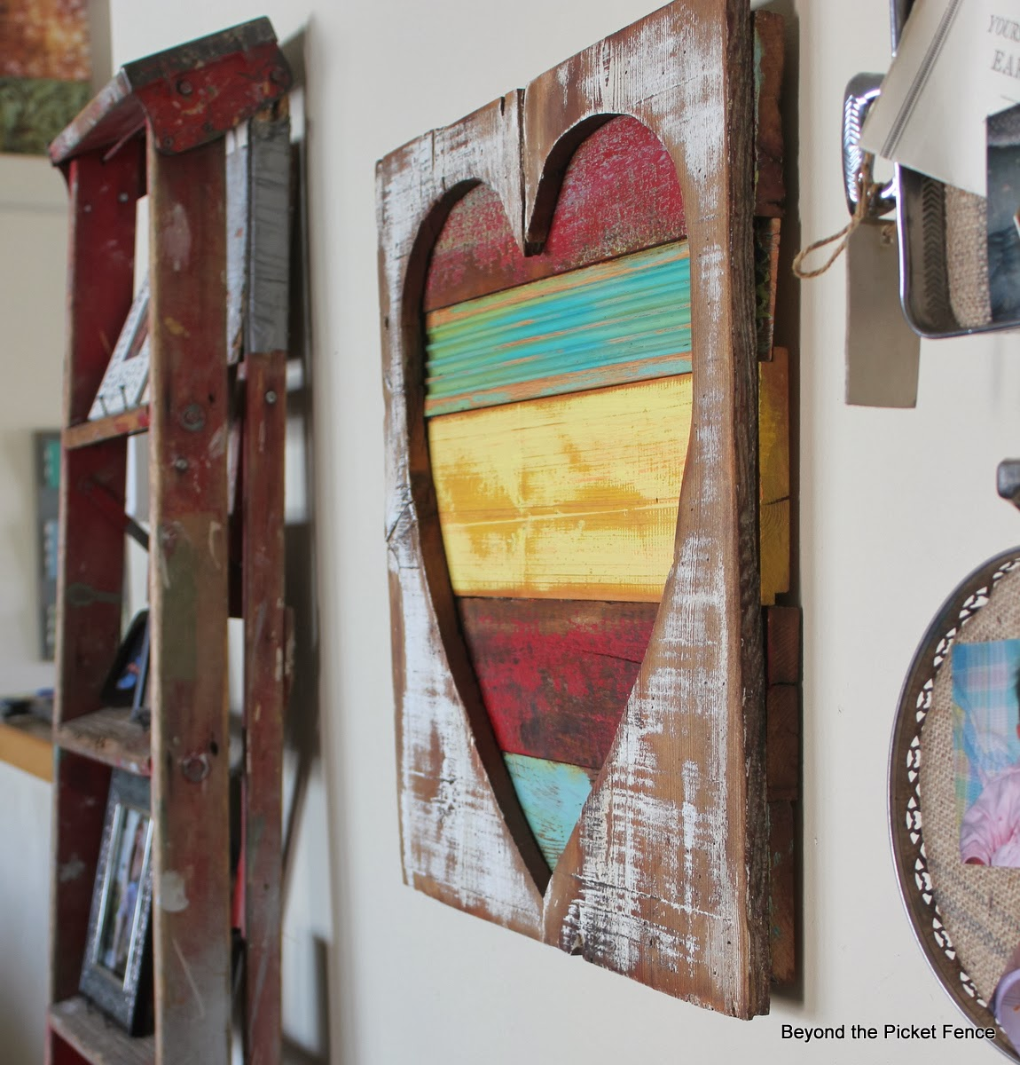 Reclaimed wood heart art - Beyond the Picket Fence