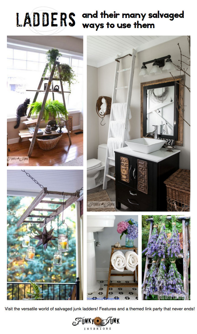 Repurposed Ladders - everything you can do with an upcycled ladder. Features and a themed linkup! via FunkyJunkInteriors.net