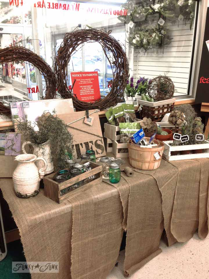 Michaels crafts of topiaries, moss and burlap / Michaels Hometalk Pinterest crafting event on FunkyJunkInteriors.net