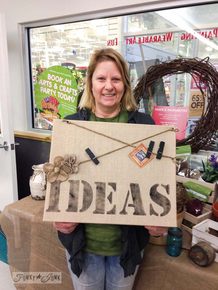 Ideas burlap noteboard / Michaels Hometalk Pinterest crafting event on FunkyJunkInteriors.net