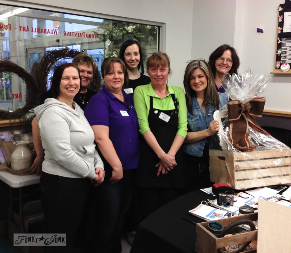 Michaels Abbotsford BC Canada staff with Funky Junk Interiors' Donna / Michaels Hometalk Pinterest crafting event on FunkyJunkInteriors.net