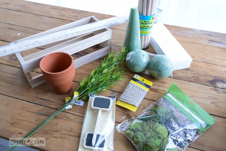 Michaels craft supplies / How to make inspiring moss topiaries in a crate via FunkyJunkInteirors.net