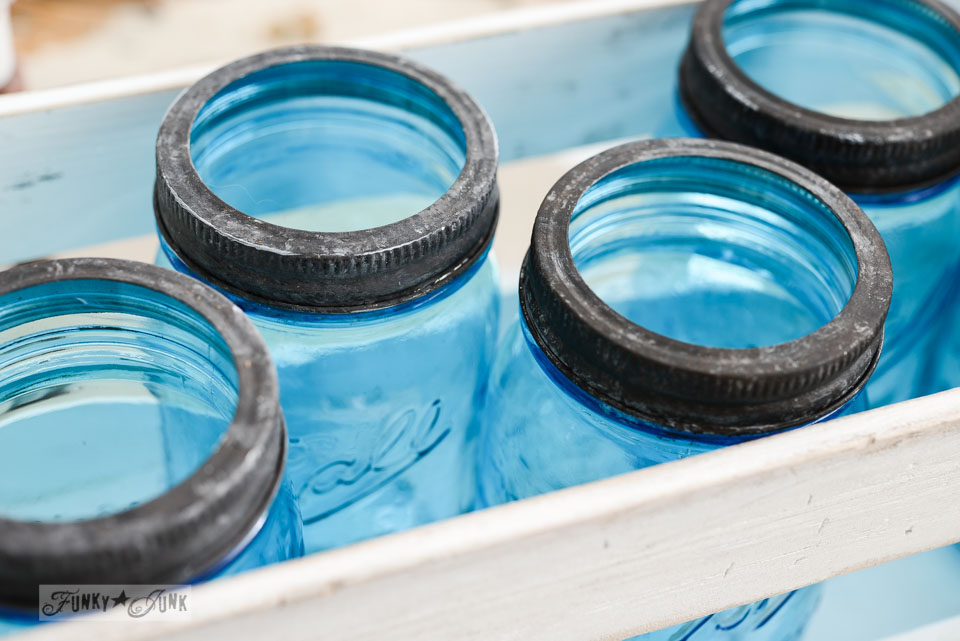 How to antique new mason jar lids via FunkyJunkInteriors.net