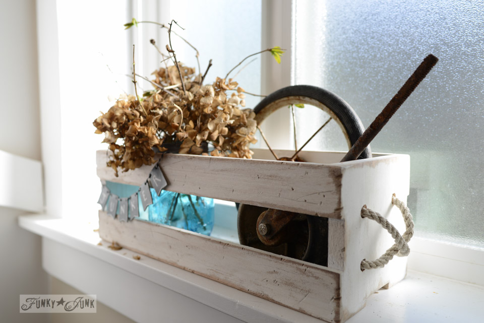 Antique mason jar crate display, via FunkyJunkInteriors.net