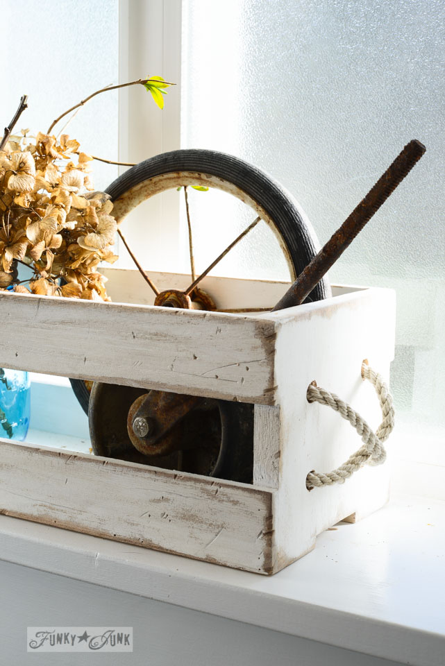 Creating a rope handle / Antique mason jar crate display, via FunkyJunkInteriors.net