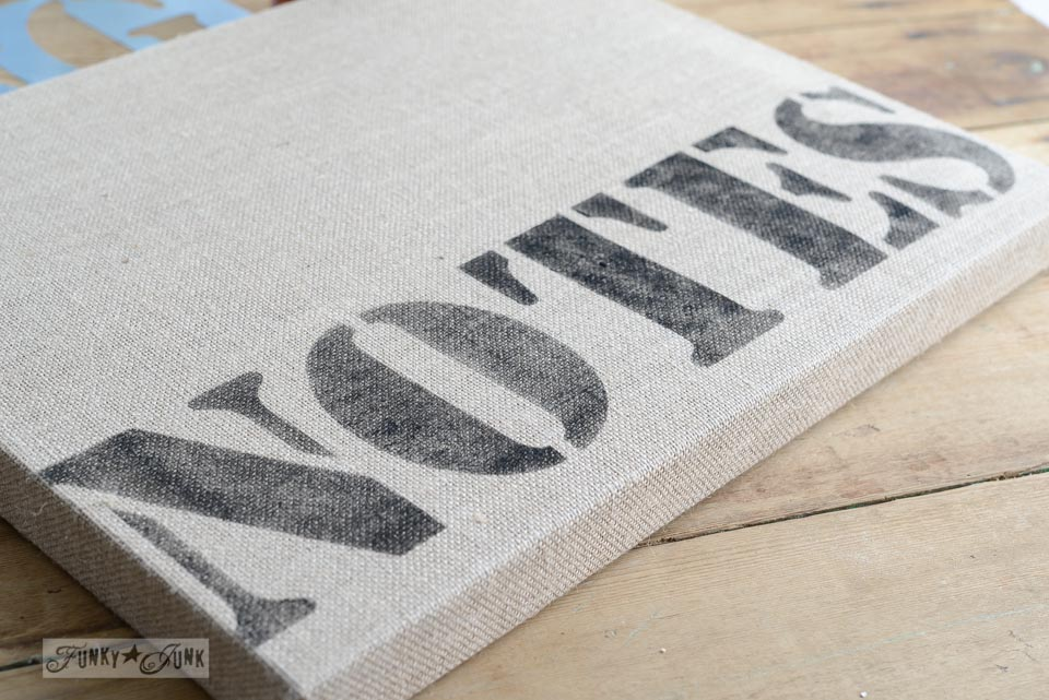 How to stencil burlap / Burlap mason jar yardstick message centre via FunkyJunkInteriors.net