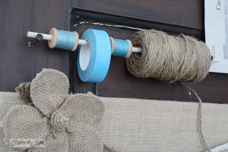 Dowel thread and tape dispenser / Burlap mason jar yardstick message centre via FunkyJunkInteriors.net