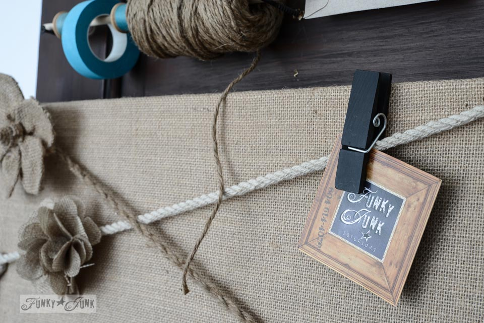 Burlap mason jar yardstick message centre via FunkyJunkInteriors.net