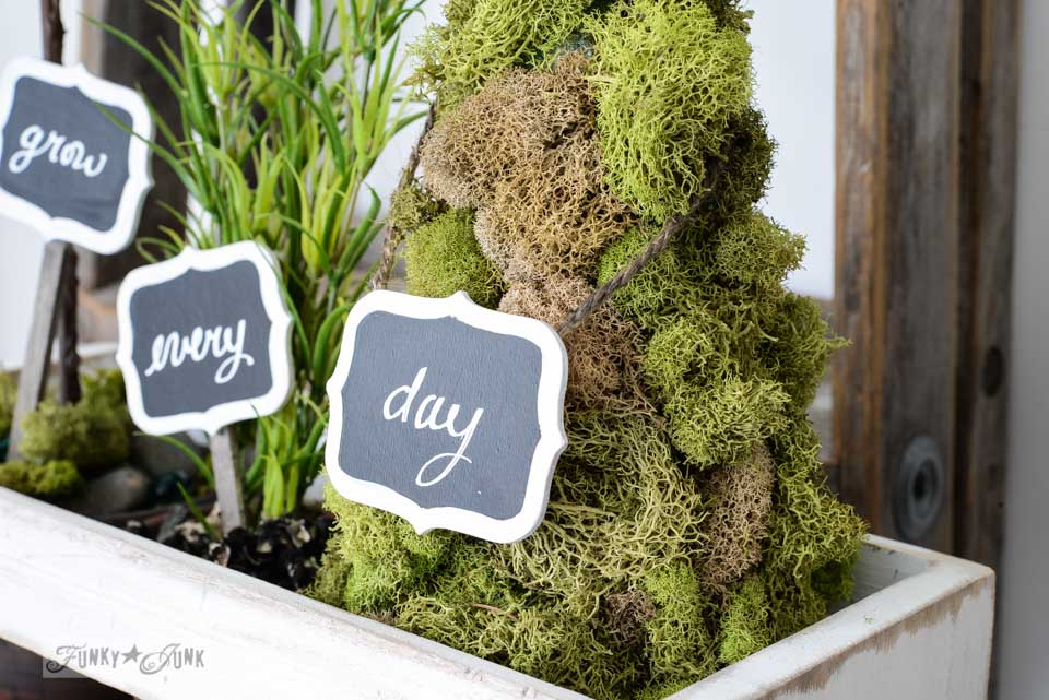 Chalkboard labels / How to make inspiring moss topiaries in a crate via FunkyJunkInteirors.net
