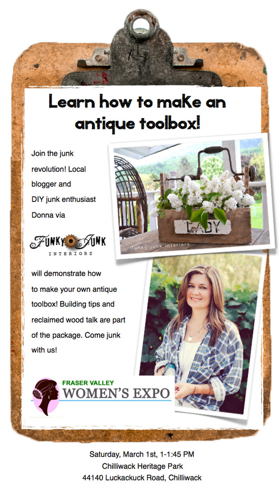 Learn how to make an antique toolbox at the Fraser Valley Women's Expo via FunkyJunkInteriors.net
