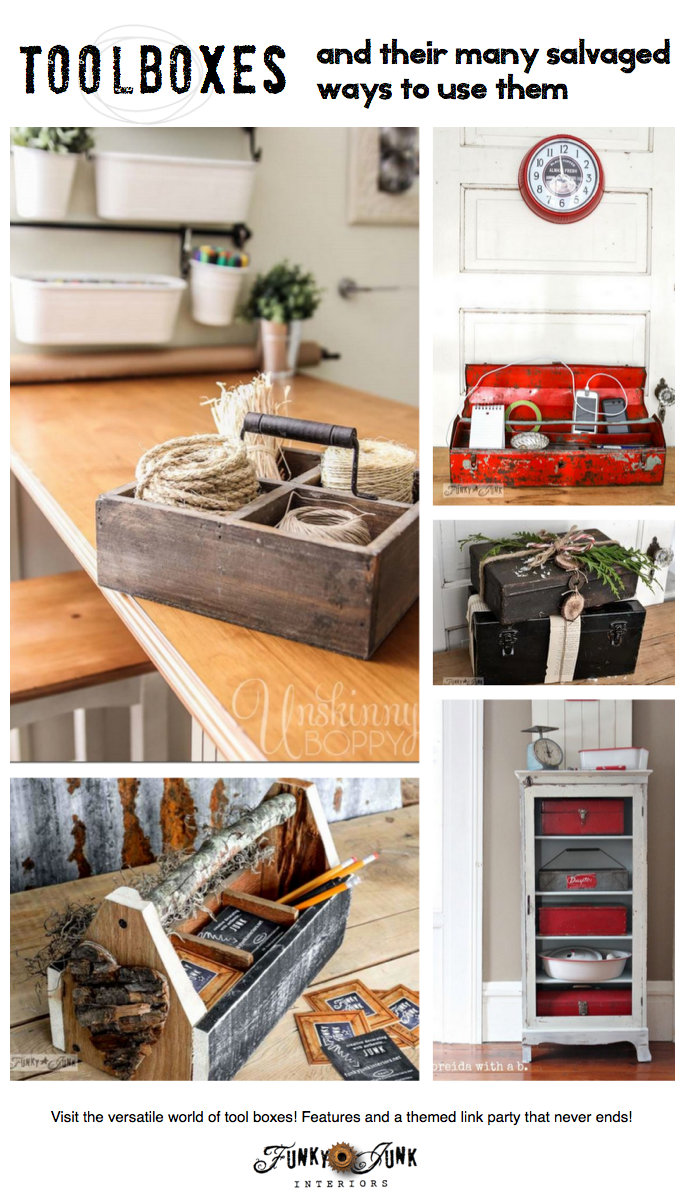 Toolboxes and their many salvaged ways to use them via FunkyJunkInteriors.net
