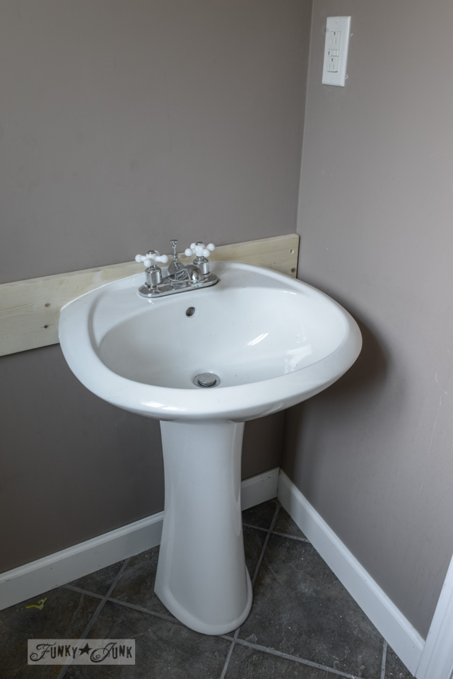 How To Install A Pedestal Sink Without Wall Studs Via FunkyJunkInteriors.net