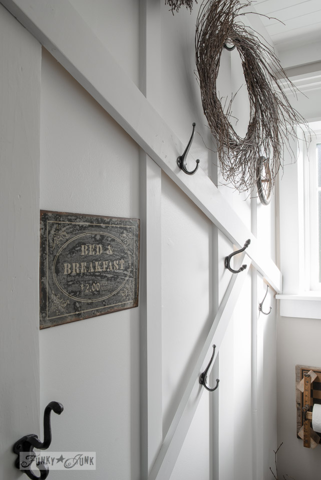 Board and batten attic towel wall  / How to decorate a bathroom rustic / decorating advice via FunkyJunkInteriors.net
