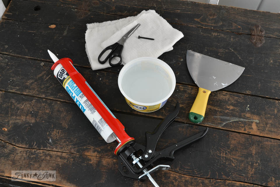 Caulking a plank ceiling / How to plank a bathroom ceiling with pine planks - full tutorial via http://www.funkyjunkinteriors.net/