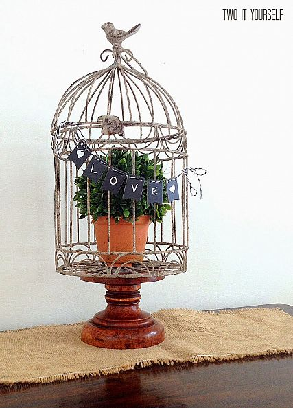 Boxwood Birdcage with Mini Chalkboard Banner by Two It Yourself