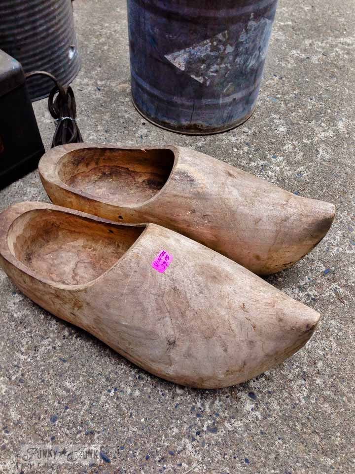 Rustic wooden shoes / Junk finds... what would you do with ? via FunkyJunkInteriors.net