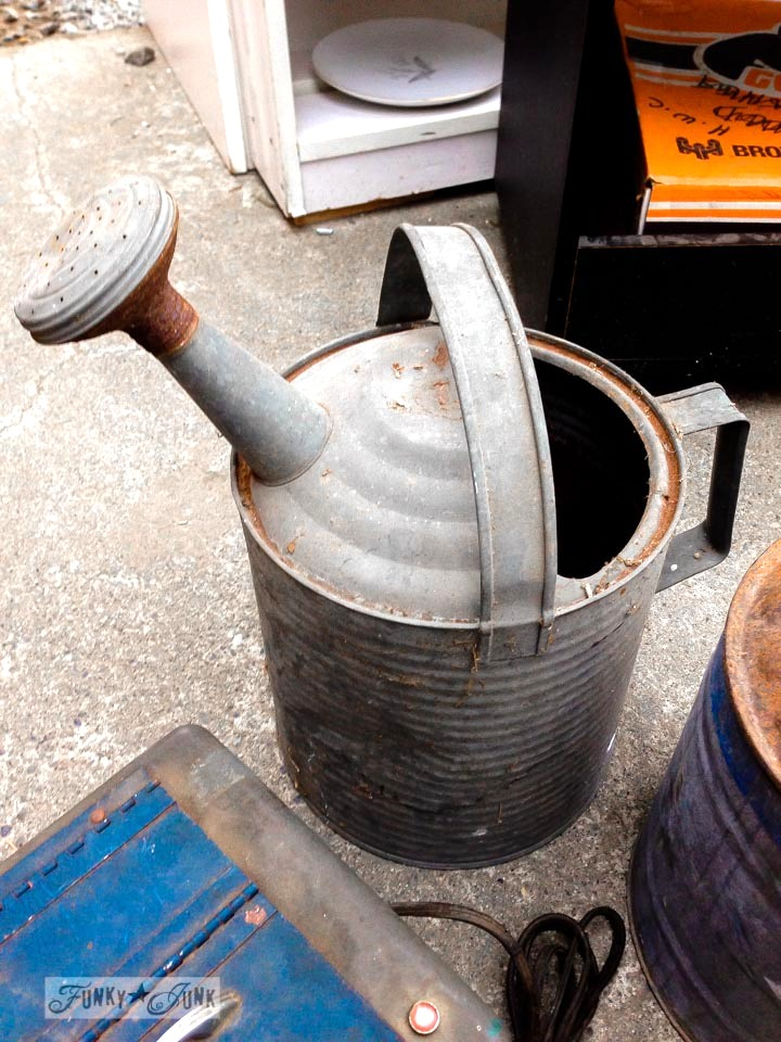 Galvanized watering can / Junk finds... what would you do with ? via FunkyJunkInteriors.net