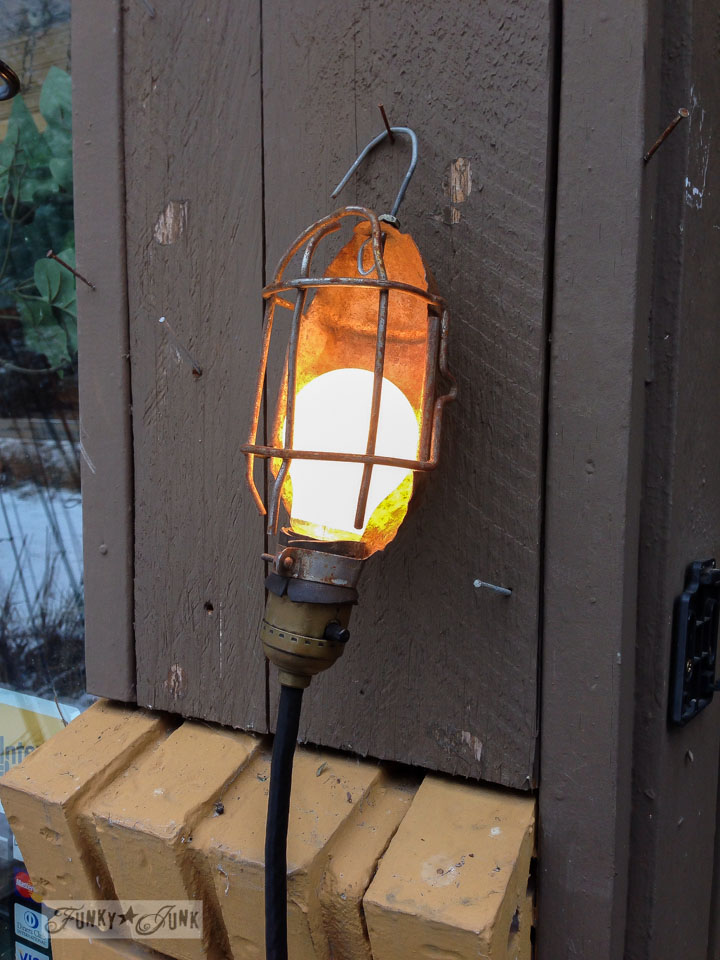Trouble light / Junk finds... what would you do with ? via FunkyJunkInteriors.net