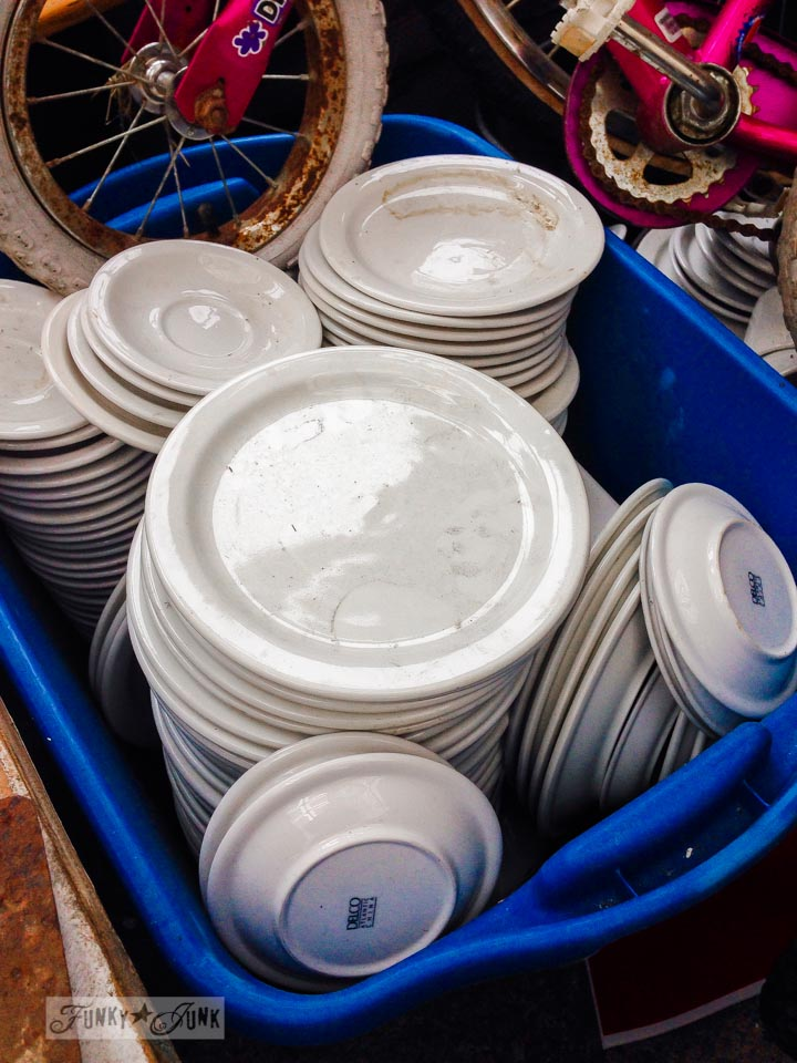 White restaurant dishes / Junk finds... what would you do with ? via FunkyJunkInteriors.net