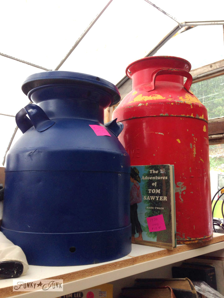 Navy and red milk cans / Junk finds... what would you do with ? via FunkyJunkInteriors.net