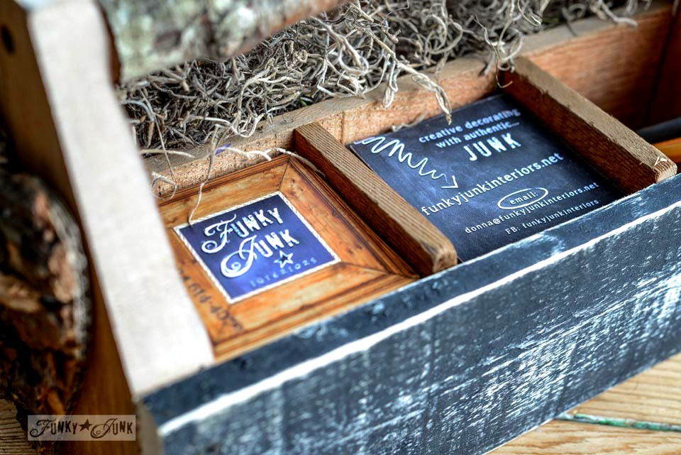 Sections in toolbox / Reclaimed wood business card holder toolbox via FunkyJunkInteriors.net