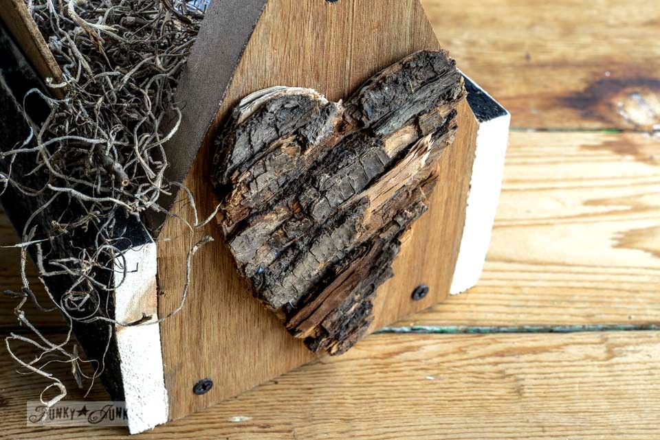 Bark heart / Reclaimed wood business card holder toolbox via FunkyJunkInteriors.net