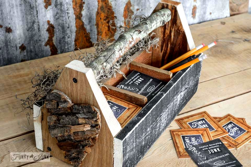 Branch handle / Reclaimed wood business card holder toolbox via FunkyJunkInteriors.net