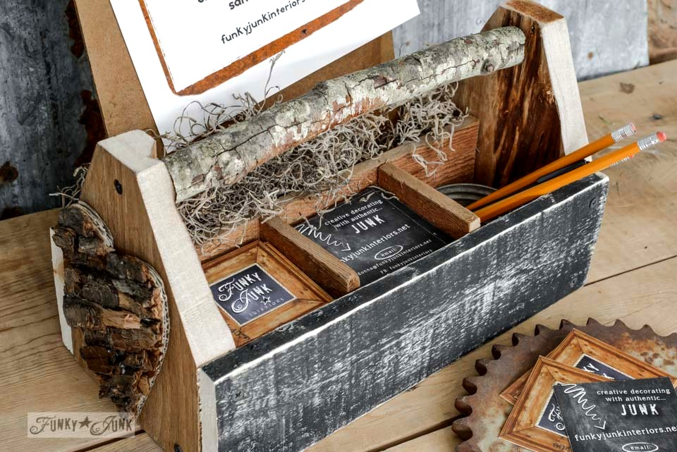 Reclaimed wood business card holder toolbox via FunkyJunkInteriors.net