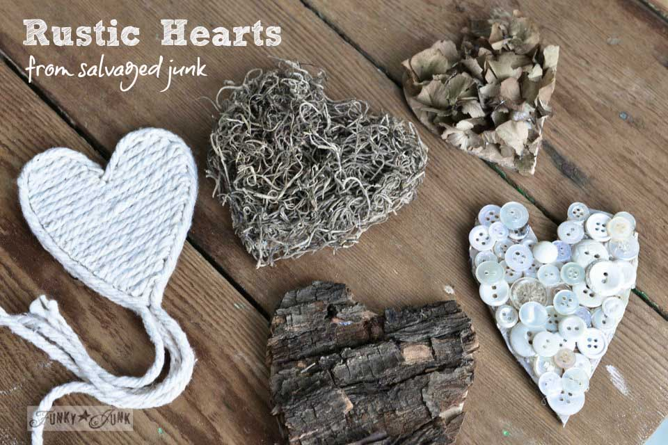 Learn how to make these charming rustic hearts for Valentine's Day with bark, twine, burlap, buttons, plus! Click for full tutorial with many ideas! #valentinesday #hearts #valentines #funkyjunkinteriors #repurpose #valentinesdayprojects