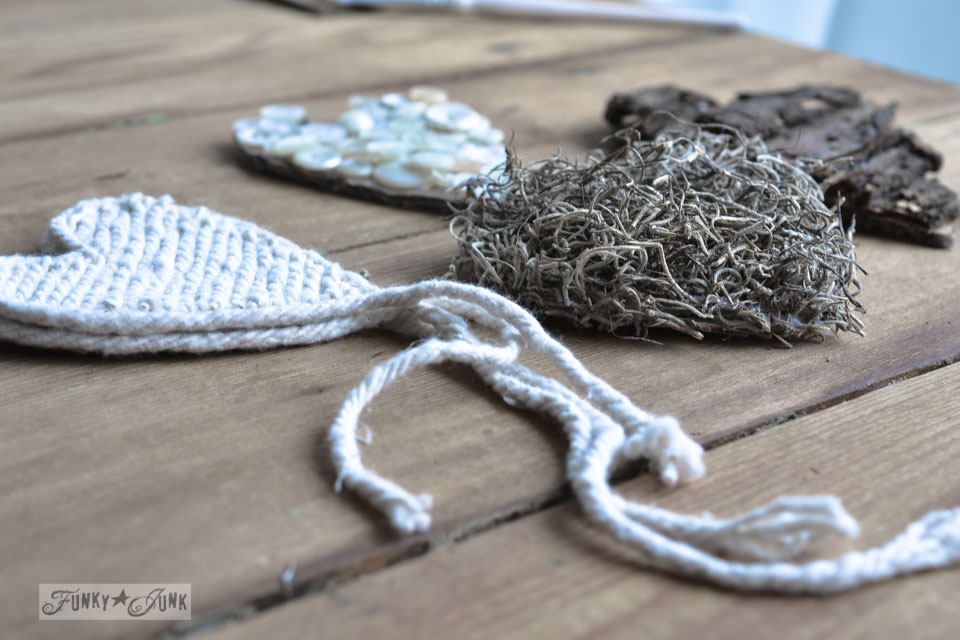 Learn how to make these charming rustic hearts for Valentine's Day with bark, twine, burlap, buttons, plus! Click for full tutorial with many ideas! #valentinesday #hearts #valentines #funkyjunkinteriors #repurpose