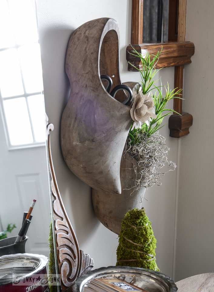 Wooden shoe wall planters / Spring decorating with mossy wooden shoes and other topiaries via FunkyJunkInteriors.net