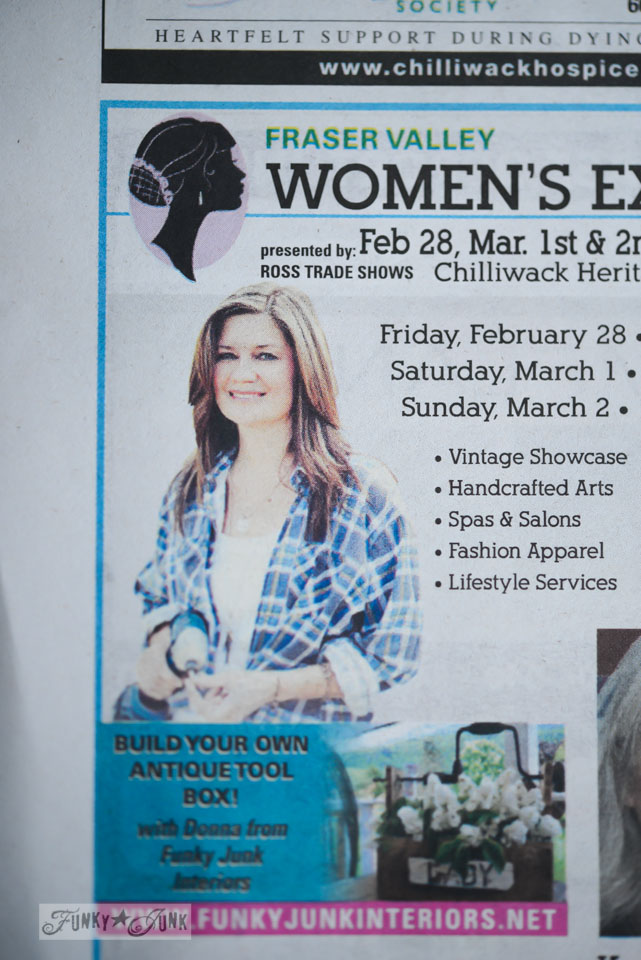 Talking about antique toolbox building at the Fraser Valley Women's Expo via FunkyJunkInteriors.net
