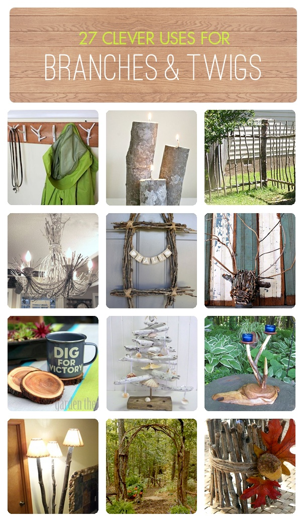 27 clever ways to use branches and twigs via Hometalk, featured on FunkyJunkInteriors.net