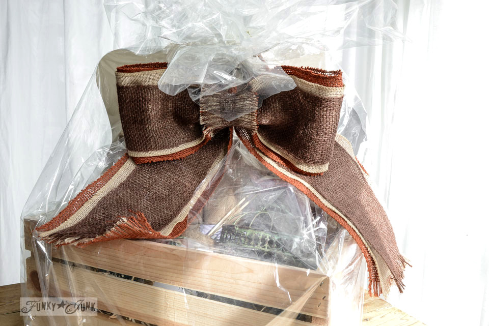 How to make a burlap bow / Part of a crate of craft supplies from Michaels via FunkyJunkInteriors.net