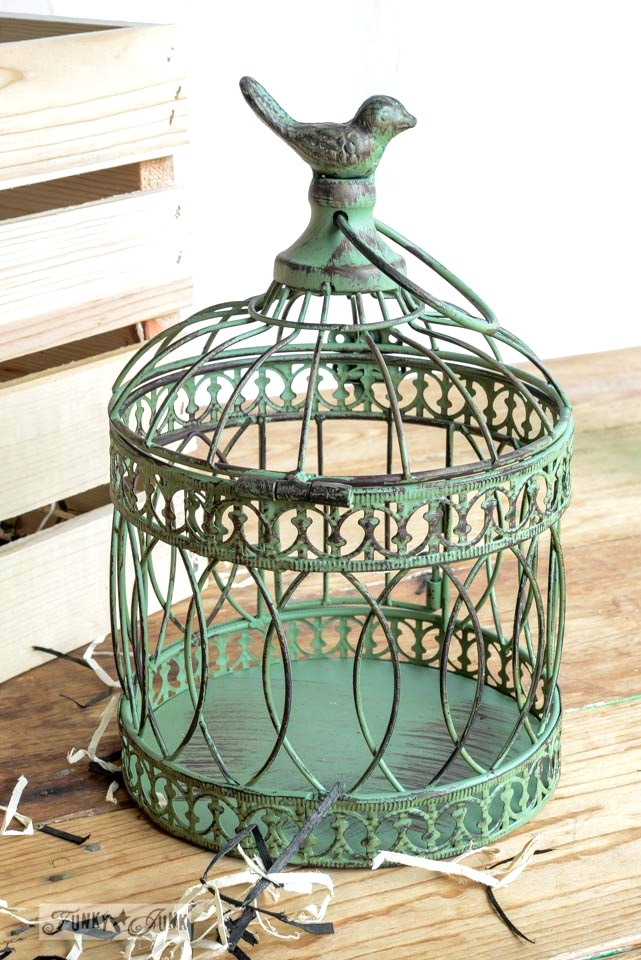 Metal distressed birdcage from Michaels via FunkyJunkInteriors.net