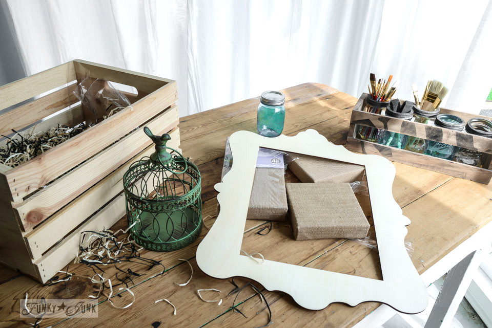 A crate of craft supplies from Michaels via FunkyJunkInteriors.net