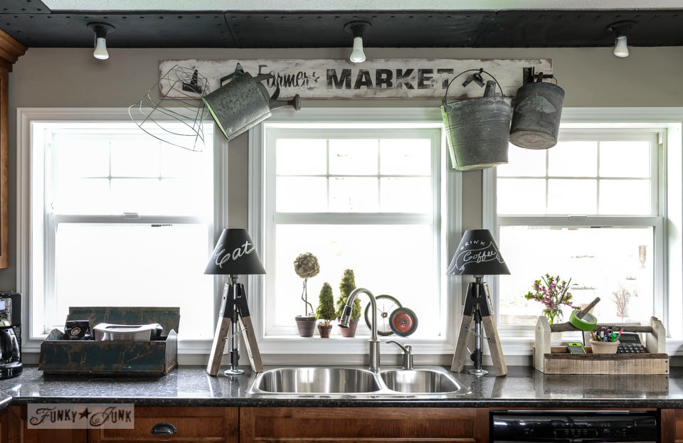 Kitchen with sawhorse lamps on FunkyJunkInteriors.net